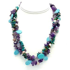 "Amethyst, Pearls, Turquoise Necklace 21"" EUC"